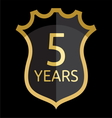 Golden shield 5 years vector image vector image
