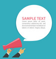 hand holding megaphone and bubble vector image vector image