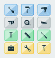 handtools icons set collection of paint digging vector image vector image