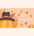 happy thanksgiving pumpkin with hat bees leaves vector image