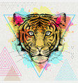 hipster animal tiger on artistic polygon vector image vector image