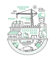 Industrial plant with a worker - line design vector image vector image
