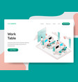 landing page template work table concept vector image