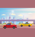 pickup and taxi on road cityscape on background vector image vector image
