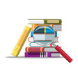 pile of books and magnifying glass vector image