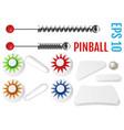 pinball set bumpers and flippers mockup kit vector image