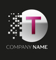 pink letter t logo symbol in silver pixel circle vector image
