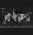 retrofuturistic ninja lettering design for merch vector image vector image