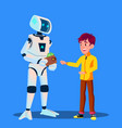 robot gives money to child isolated vector image vector image