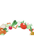 round strip of sliced and whole vegetables vector image vector image