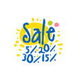 sale 5 15 20 30 percent off logo template vector image