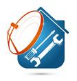 satellite dish installation silhouette vector image vector image