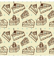 Seamlees pattern with cakes vector image