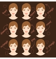 set different woman face shapes 6 vector image vector image