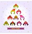 Set of colorful mask christmas monkey Cristmas vector image vector image