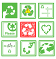 Set of green and red recycle sign symbol vector image