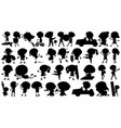 set silhouette kids character vector image vector image