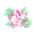 skeleton tattoo artist fashion t-shirt design vector image vector image
