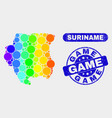 spectrum mosaic suriname map and grunge game seal vector image vector image