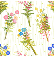 Springtime Colorful Flower with Wild Grass Pattern vector image