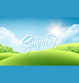 summer lettering on the landscape background vector image vector image