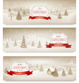 Three christmas holiday landscape banners vector image vector image