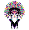 tribal girl in war bonnet vector image
