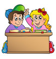two children at school desk vector image