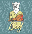 white bear with meat ham vector image vector image