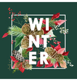 Winter Christmas Design in Winter Flowers vector image vector image