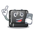 with phone button f3 isolated in mascot vector image vector image