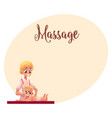 young beautiful therapist doing baby massage vector image vector image