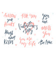romantic lettering set calligraphy postcard or vector image