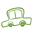 A drawing of a green car vector image