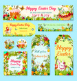 easter egg and rabbit gift tag with flower decor vector image