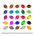 Set of Multi-colored American Footballs on White vector image