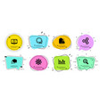 360 degrees data analysis and chat message icons vector image vector image