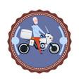 adult man riding modern motorcycle vintage logo vector image vector image