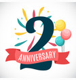 anniversary 2 years template with ribbon vector image vector image