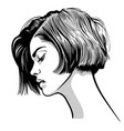 beautiful woman portrait black and white style vector image vector image