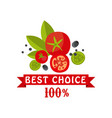 best choice 100 percent badge for healthy food vector image vector image
