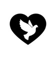 black silhouette flying dove with heart vector image