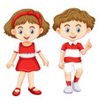 boy and girl wearing shirt with red and white vector image vector image