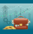 briefcase with paper money dollars vector image
