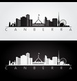 canberra skyline and landmarks silhouette vector image vector image
