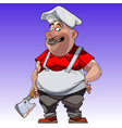 cartoon man in chefs clothes with the axe vector image vector image
