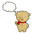cartoon teddy bear wearing scarf with thought vector image