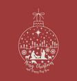 christmas cribe scene on ball vector image vector image