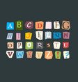 collage alphabet sliced letters various funny vector image vector image