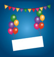 colored flying balloons empty board pennant vector image vector image
